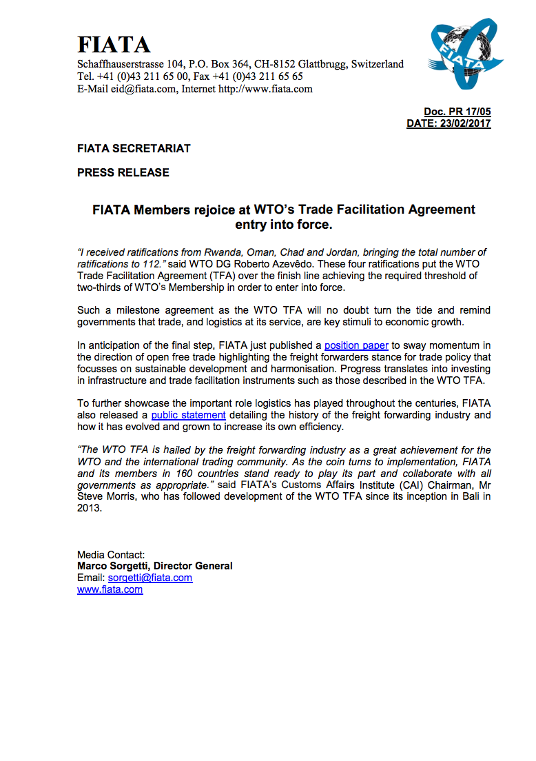 Metrans fiata members rejoice at wto s trade facilitation agreement entry into force platinumwayz